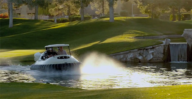 Oakley gives Bubba Watson a hovercraft to replace his golf cart video
