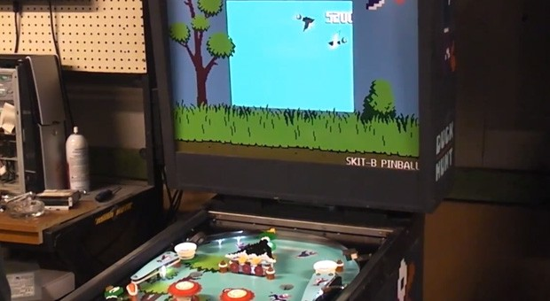 Duck Hunt pinball machine merges analog and digital in a nostalgia singularity video