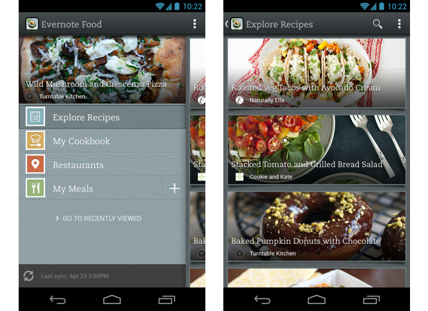 Evernote Food for Android offers more way to