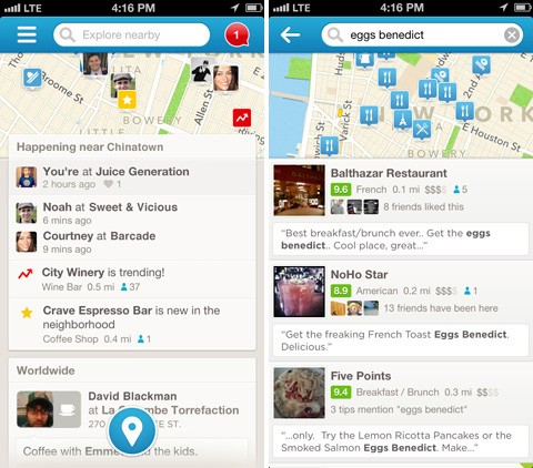 Foursquare 60 for iOS swings attention to searches and local highlights