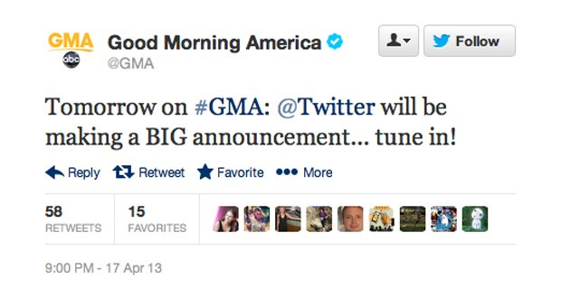 Twitter will unveil something 'big' on Good Morning America, whatever that may be