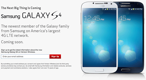 Samsung Galaxy S 4 for Verizon signup page goes live