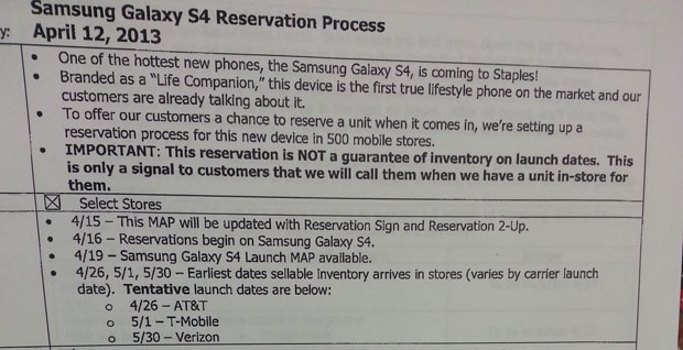 Galaxy S4 availability hinted at in Staples training document, AT&T pegged for tentative 426 launch
