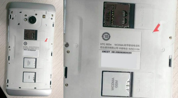 HTC One 802w for China spotted with removable cover, dual SIM slots