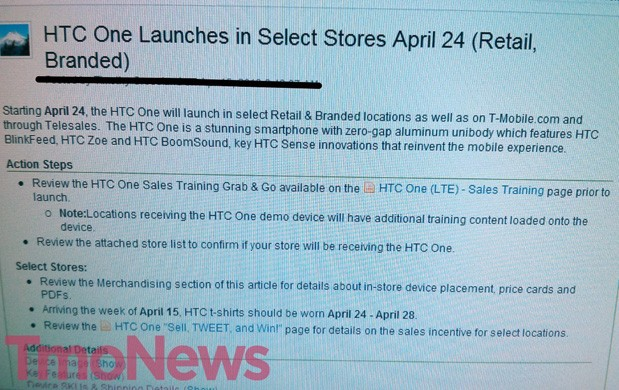TMobile leak hints at an HTC One launch on April 24th
