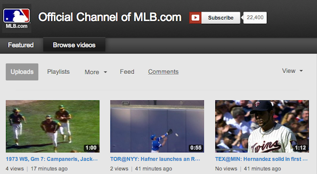 YouTube now offers more MLB highlights and full archived games