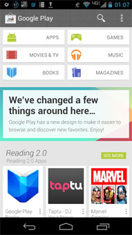 Google Play redesign and Babel chat branding surface on Google