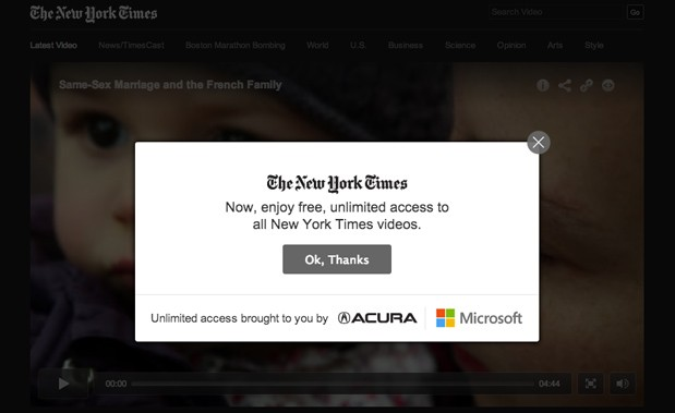 New York Times videos now exempt from paywall, backed by ad support