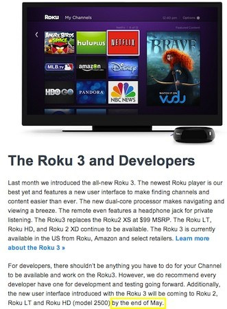 Roku 2 menu update gets a new &#8216;end of May&#8217; deadline in message to devs