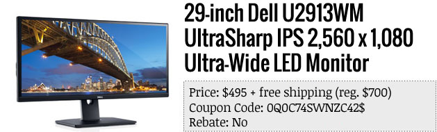 Slickdeals' best in tech for April 24th 29inch Dell UltraSharp 219 LED monitor and more