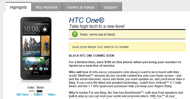 Stealth black HTC One peeks out of AT&T and Sprint web stores, promises to be available 'soon'