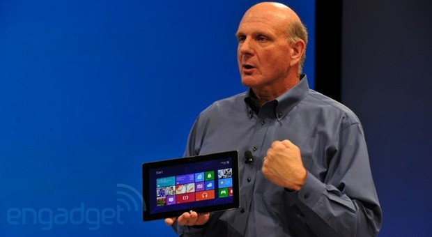 Steve Ballmer holding a Surface
