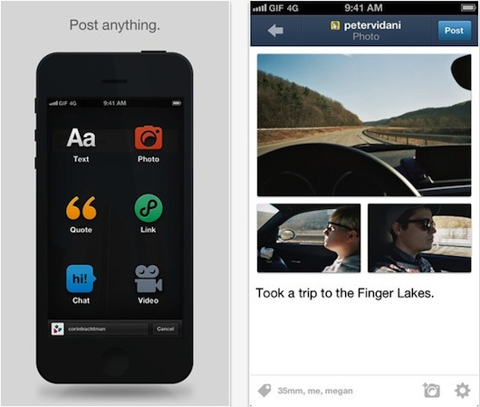 Tumblr for iOS gets new social sharing features, options to save to Instapaper and Pocket