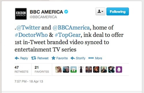 BBC America has first 'intweet branded video' deal for a TV series