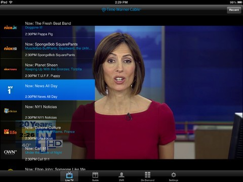 Time Warner Cable's TWC TV app will add live streaming away from home tomorrow