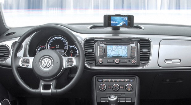 Volkswagen iBeetle integrates iOS through an iPhone dock, an app and that's it