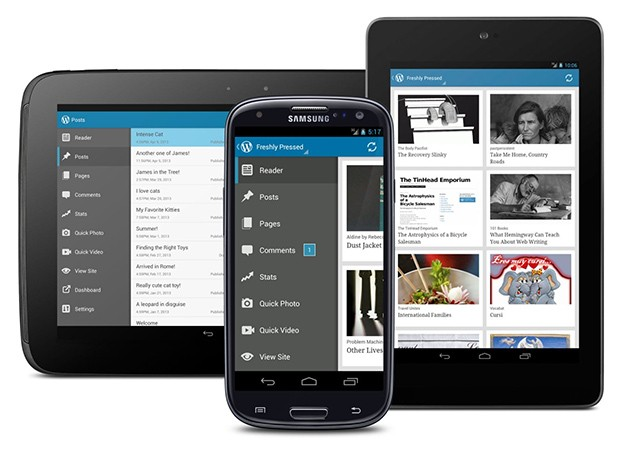 WordPress 23 for Android gains Holo interface and menu drawer