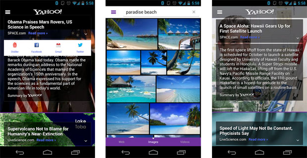 Yahoo's Android app gets Summly news search boost, catches up with iOS