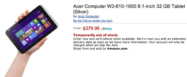 Unannounced Acer Iconia W3 8inch tablet leaks on Amazon, priced at $  380