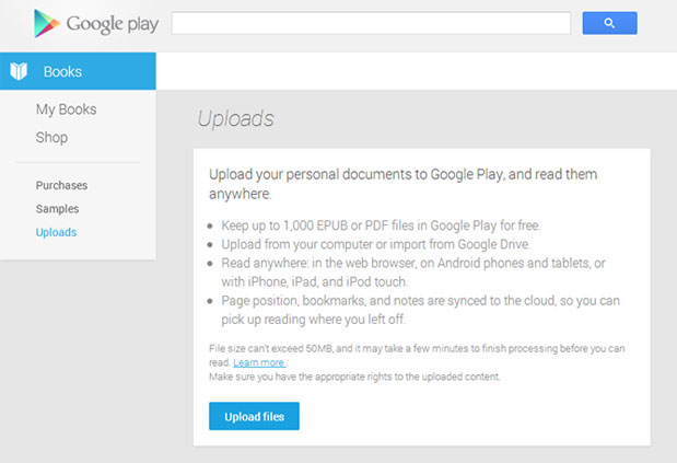 Google Play Books updated to allow user uploads, supports EPUB and PDF