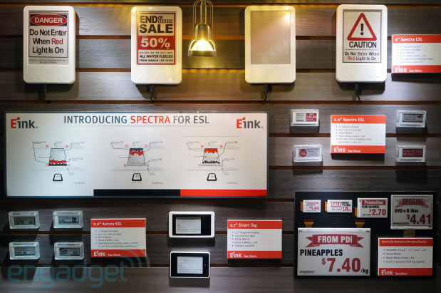DNP  E Ink's threepigment Spectra displays update pricing in real time, are destined for supermarket shelves handson
