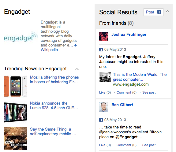 Bing now loads related Facebook posts, lets you share search results from the social sidebar