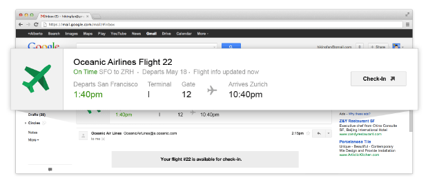 Google adding quick action buttons, realtime flight status to Gmail