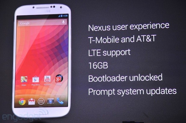 Google unveils Samung Galaxy S 4 running stock Android Jelly Bean