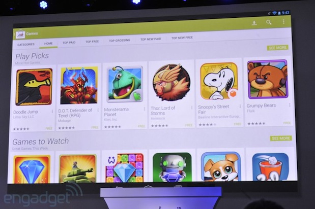 Google Play on a tablet