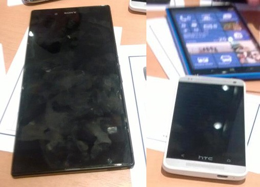 DNP HTC M4 possibly pictured alongside alleged Nokia Lumia 1030 and Sony 'Togari' cellular monstrosity