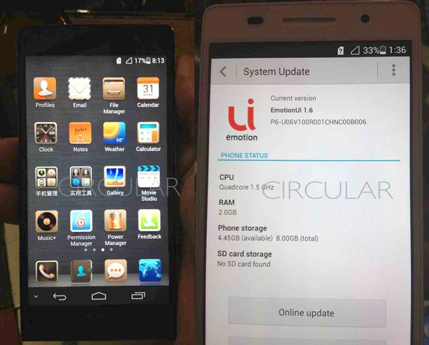 New Huawei P6U06 spy shots show off black, brushed metallic body