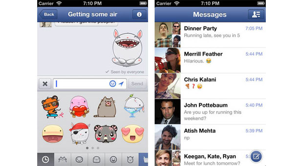 Facebook Messenger for iOS now with stickers and messagedeleting swipes