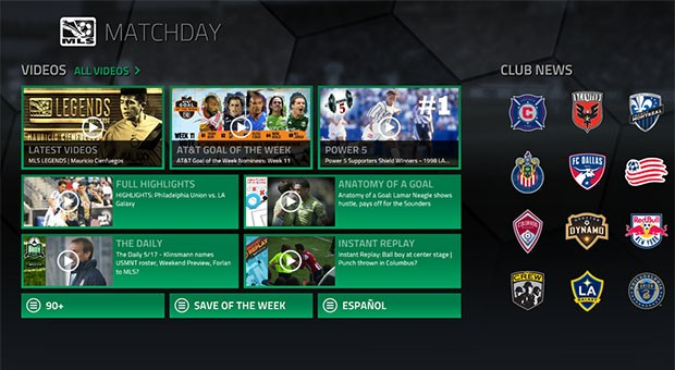Windows 8 Major League Soccer app