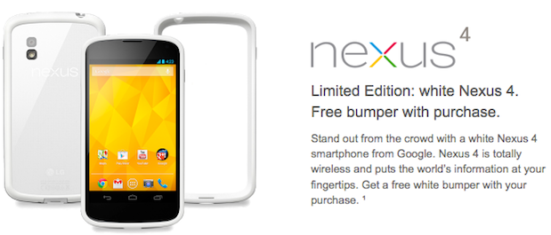 White Nexus 4 now available on TMobile and in Play Store