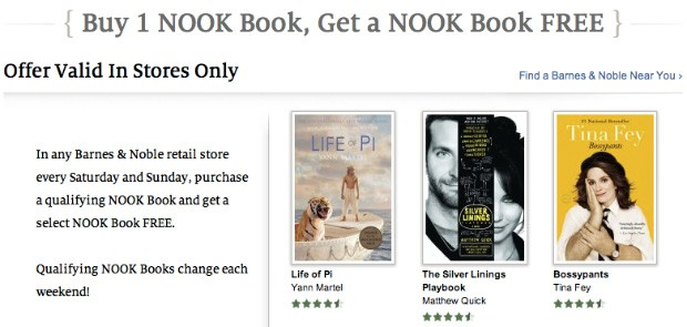 Barnes & Noble intros buyonegetone Nook book offer, valid only if you visit a store