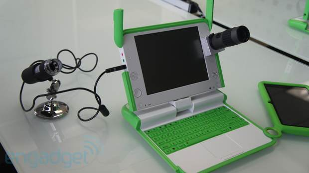 OLPC working on XO laptop telescope and microscope peripherals handson