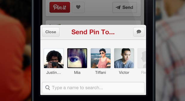 Pinterest lets users send pins directly to friends, receive instant feedback