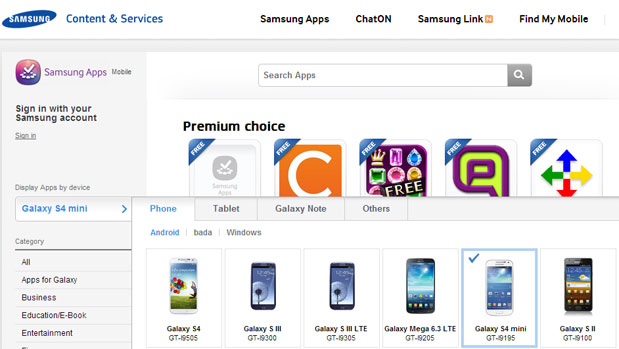 Samsung Galaxy S 4 mini peeks out of official app catalog in UK