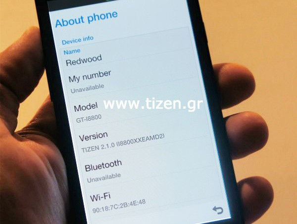 Samsung GT-i8800 smartphone makes an appearance running Tizen 2.1