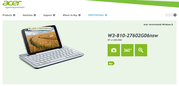 Iconia W3 tablet live on Acer&#039;s Finnish website, confirms 8.1 inches of Windows 8 Pro