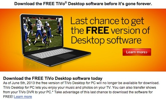 Free TiVo Desktop PC software disappears June 5th, $16 Plus version will remain