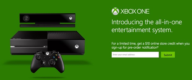 Xbox One preorder notification is live here's where to sign up