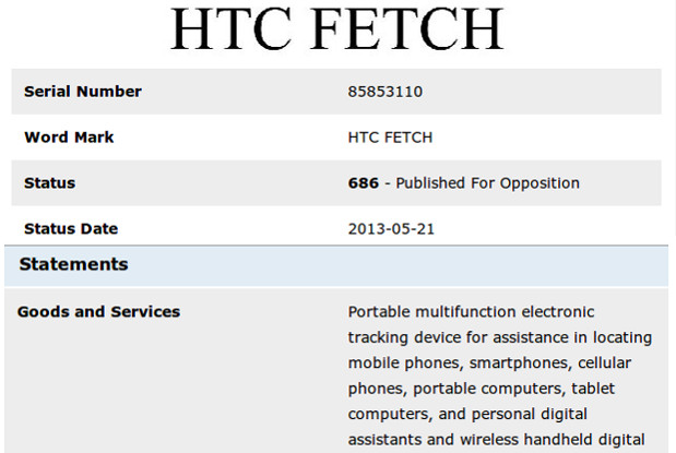 HTC applies for 'Fetch' trademark, tracking device passes through Taiwan's NCC