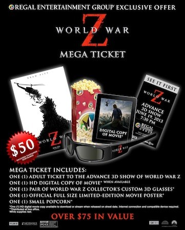 World War Z 'Mega Ticket' trial brings early screenings, bonuses for $  50 tomorrow