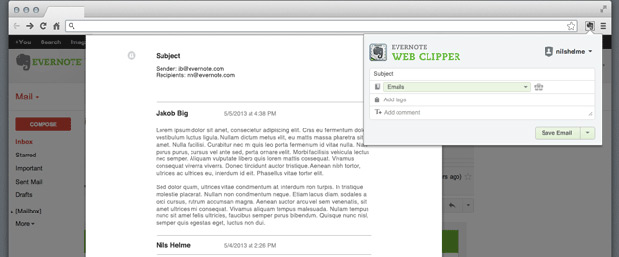Evernote Web Clipper's new Gmail function saves copies of emails and attachments