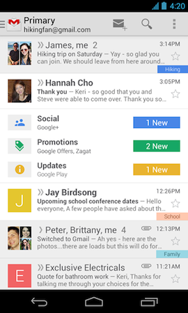 Gmail for Android 45 rolling out today with slideout navigation