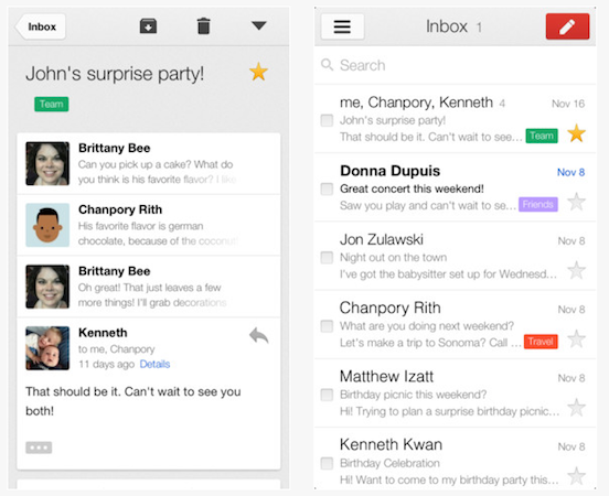 New Gmail interface arrives on iOS devices