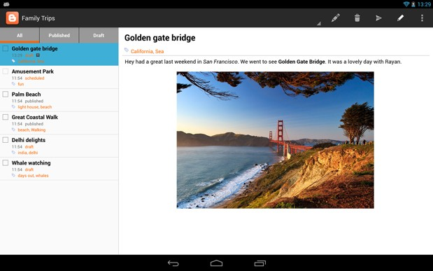 Google Blogger for Android gets tablet support