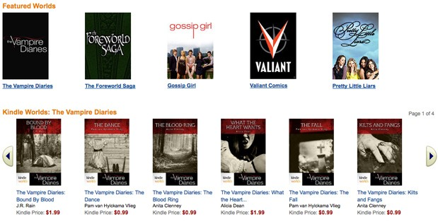 Amazon opens up Kindle Worlds Store, for all your licensed fan fic needs