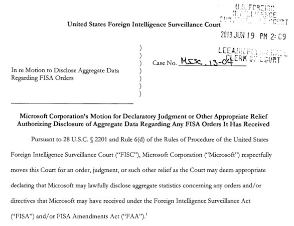 Microsoft request on FISA disclosures